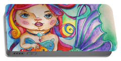 Watercolor Mermaidia Mermaid Painting Portable Battery Charger by Shelley Overton