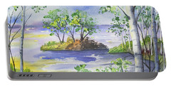 Portable Battery Charger featuring the painting Watercolor - Minnesota North Shore Landscape by Cascade Colors