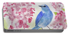 Portable Battery Charger featuring the painting Watercolor - Mountain Bluebird by Cascade Colors