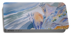 Portable Battery Charger featuring the painting Watercolor - Mountain Goats On Quandary by Cascade Colors