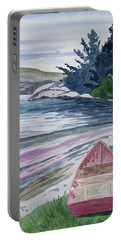 Portable Battery Charger featuring the painting Watercolor - New Zealand Harbor by Cascade Colors