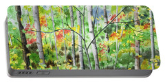 Portable Battery Charger featuring the painting Watercolor - Northern Forest by Cascade Colors