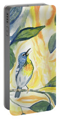 Watercolor - Northern Parula In Song Portable Battery Charger