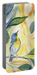 Portable Battery Charger featuring the painting Watercolor - Northern Parula In Song by Cascade Colors