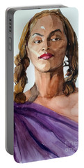 Portrait In Watercolor Of A Brooklyn Queen Portable Battery Charger