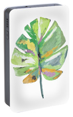 Portable Battery Charger featuring the mixed media Watercolor Palm Leaf- Art By Linda Woods by Linda Woods