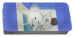Portable Battery Charger featuring the painting Watercolor - Paros Church And Street Scene by Cascade Colors