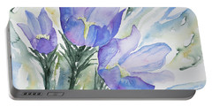 Portable Battery Charger featuring the painting Watercolor - Pasque Flowers by Cascade Colors