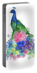 Watercolor Peacock Portable Battery Charger