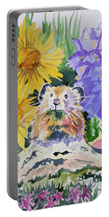 Portable Battery Charger featuring the painting Watercolor - Pika With Wildflowers by Cascade Colors