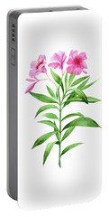 Watercolor Pink Oleander Portable Battery Charger