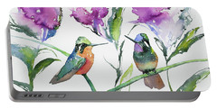 Portable Battery Charger featuring the painting Watercolor - Purple-throated Mountain Gems And Flowers by Cascade Colors