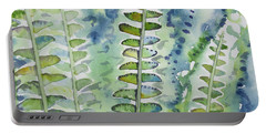 Portable Battery Charger featuring the painting Watercolor - Rainforest Fern Impressions by Cascade Colors