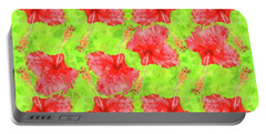 Watercolor Red Hibiscus Tropical Aloha Botanical Portable Battery Charger