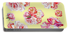 Portable Battery Charger featuring the painting Watercolor Roses Golden Dance by Irina Sztukowski