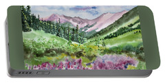 Portable Battery Charger featuring the painting Watercolor - San Juans Mountain Landscape by Cascade Colors