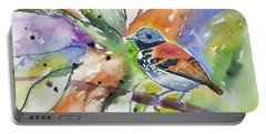 Portable Battery Charger featuring the painting Watercolor - Spotted Antbird by Cascade Colors