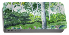 Watercolor - Spring Forest And Flowers Portable Battery Charger
