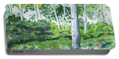 Portable Battery Charger featuring the painting Watercolor - Spring Forest And Flowers by Cascade Colors
