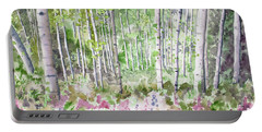 Portable Battery Charger featuring the painting Watercolor - Summer Aspen Glade by Cascade Colors