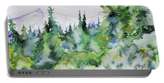 Portable Battery Charger featuring the painting Watercolor - Summer In The Rockies by Cascade Colors