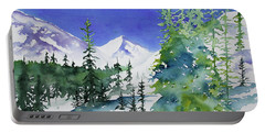Portable Battery Charger featuring the painting Watercolor - Sunny Winter Day In The Mountains by Cascade Colors