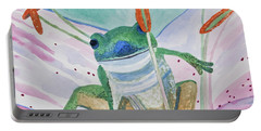 Portable Battery Charger featuring the painting Watercolor - Tree Frog by Cascade Colors