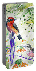Portable Battery Charger featuring the painting Watercolor - Vermilion Flycatcher Pair In Quito by Cascade Colors