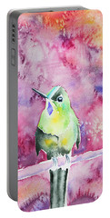 Portable Battery Charger featuring the painting Watercolor - Violet-tailed Sylph by Cascade Colors