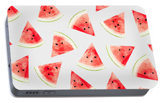 Watercolor Watermelon Pattern Portable Battery Charger by Uma Gokhale