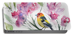 Portable Battery Charger featuring the painting Watercolor - Western Tanager In A Flowering Tree by Cascade Colors