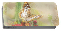 Watercolor White Peacock Butterfly Portable Battery Charger