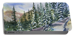 Portable Battery Charger featuring the painting Watercolor - Winter Snow-covered Landscape by Cascade Colors