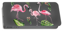 Portable Battery Charger featuring the painting Watercolour Flamingo Family by Georgeta Blanaru