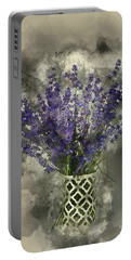 Watercolour Painting Of Beautiful Fragrant Lavender Bunch In Rus Portable Battery Charger