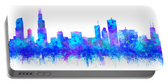 Portable Battery Charger featuring the painting Watercolour Splashes And Dripping Effect Chicago Skyline by Georgeta Blanaru