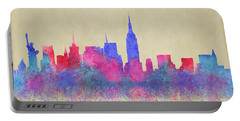 Portable Battery Charger featuring the digital art Watercolour Splashes New York City Skylines by Georgeta Blanaru