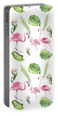 Portable Battery Charger featuring the painting Watercolour Tropical Beauty Flamingo Family by Georgeta Blanaru