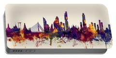 watercolour, watercolor, urban,  Bangkok, Bangkok skyline, bangkok cityscape, city skyline, thailand Portable Battery Charger by Michael Tompsett