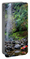 Waterfall And Flowers Portable Battery Charger