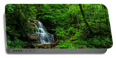 Waterfall And Rhododendron In Bloom Portable Battery Charger