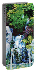 Waterfall At Japanese Garden Portable Battery Charger