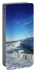 Portable Battery Charger featuring the photograph Waterfall Gullfoss In Winter Iceland Europe by Matthias Hauser