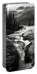 Portable Battery Charger featuring the photograph Waterfall In Banff National Park Bw by RicardMN Photography