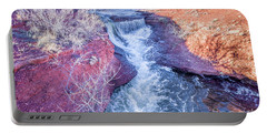 waterfalls at Colorado foothills aerial view Portable Battery Charger