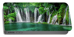 Waterfalls Panorama - Plitvice Lakes National Park Croatia Portable Battery Charger