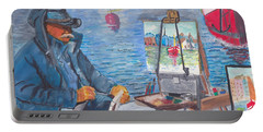 Portable Battery Charger featuring the painting Waterfront Artist by Quwatha Valentine