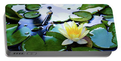 Waterlilly On Blue Pond Portable Battery Charger