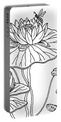 Waterlily And Bee Drawing  Portable Battery Charger