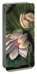 Portable Battery Charger featuring the painting Waterlily Like A Clock by Randol Burns